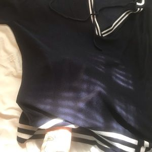 blue and white stripped pull over
